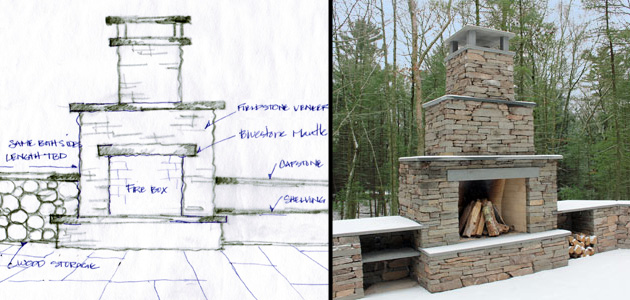Hand-drawn sketches are useful during client meetings. Here is a sketch drawn early in the design process, and the completed fireplace.